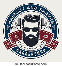 emblem, emblem, vinhøst, etikette, barbershop, eller