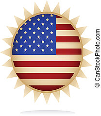 emblem, flag, konstruktion, amerikaner, illustration