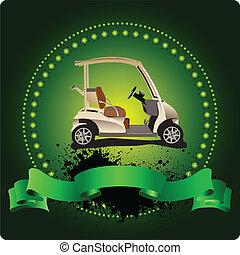 emblem., golfer, klub, illustra, vektor
