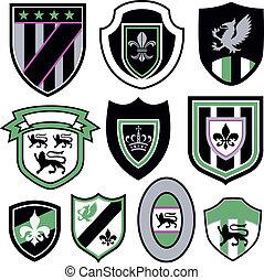 emblem, klassisk, emblem, kongelige, element