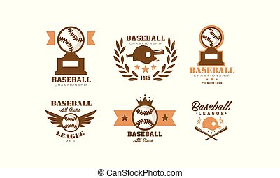 emblem, sæt, mesterskab, illustration, sport, vektor, baseball, retro, baggrund, hold, logo, hvid, emblem, identitet