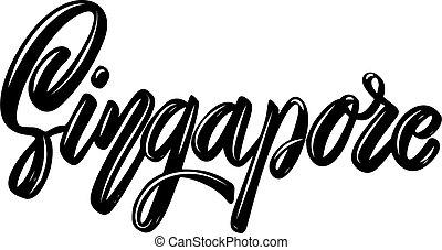 emblem., t, baggrund., vektor, element, plakat, konstruktion, banner, illustration, hvid skjorte, singapore., tekstning, frase