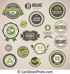 emblemer, sæt, organisk, etiketter