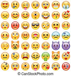 emoji., smile, iconerne, sæt, emoticons.
