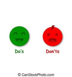 emoji., symboler, røde grønnes, gør ikke, vektor