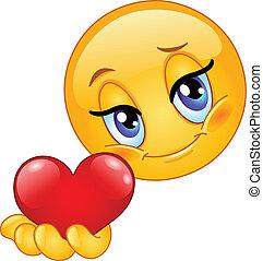 emoticon, give, hjerte