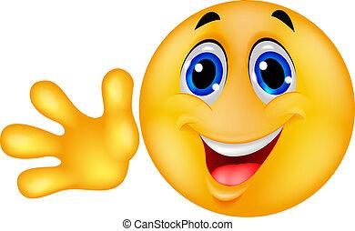 emoticon, vink, smiley, hånd