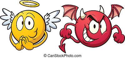 emoticons., engel, djævel