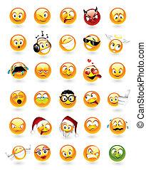 emoticons, sæt, 30