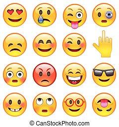 emoticons, sæt, væv