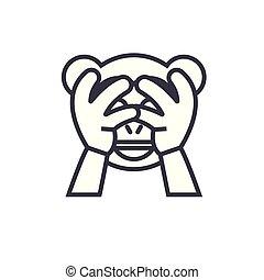 emotion, begreb, lineære, nej, editable, onde, se, vektor, illustration, beklæde, icon., emoji