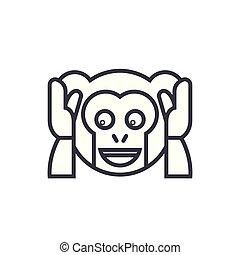 emotion, begreb, lineære, nej, editable, onde, vektor, illustration, beklæde, emoji, icon., tal