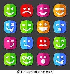 emotion, lejlighed, iconerne, smiley, vektor, ansigter