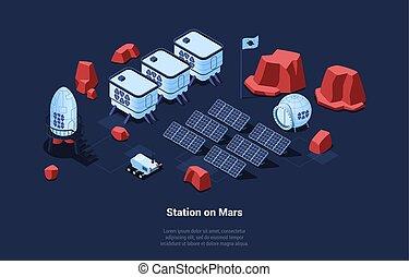 enegry, beholdere, idea., jord, sol, gaining, begrebsmæssig, cartoon, robot, kolonisering, vektor, planetter, illustration, 3, style., komposition, isometric, skæmme, overflade, akkumulatorerne, station, kosmiske