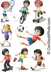 engager, aktiviteter, forskellige, kids sport