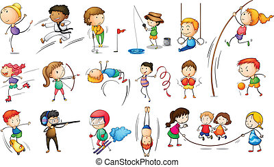 engager, forskellige, kids sport