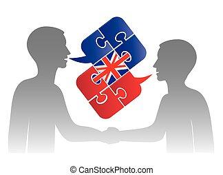 engelsk, dialog, firma