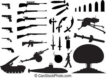 engineering., våben, illustration, silhuetter, vektor, adskillige