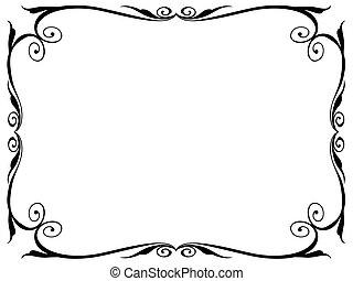 enkel, ornamental, ornamental, ramme