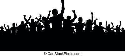 enraged, silhuet, flok, folk, vrede, protesters, vektor, pøbel