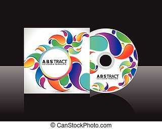 .eps, regnbue, abstrakt, afdækket, cd., kunstneriske, blomstrede