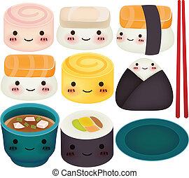 eps10, sushi, -, samling, vektor, fil