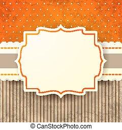 eps10, vinhøst, baggrund, orange., vektor, etikette