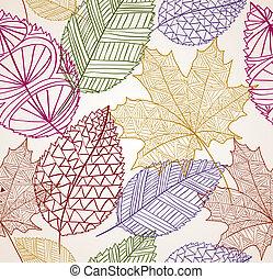 eps10, vinhøst, blade, seamless, efterår, baggrund., mønster, file.