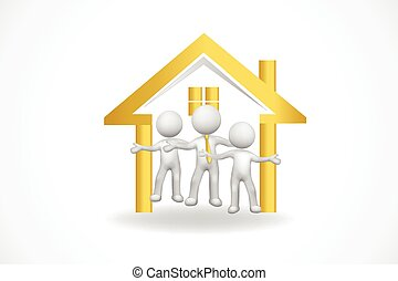 estate, egentlige folk, lille hus, logo, 3