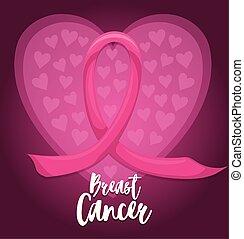 etikette, bånd, udsmykket, kræft, lyserød