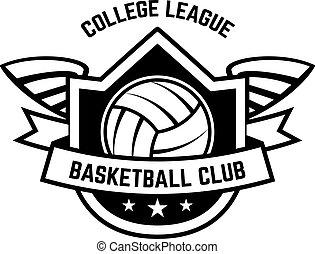 etikette, baggrund., skabelon, element, bold, volleyball, isoleret, konstruktion, logo, emblem, hvid, tegn., emblem