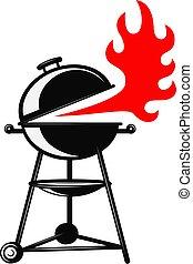 etikette, baggrund., tegn, element, grill, illustration, bbq., konstruktion, badge., logo, emblem, hvid
