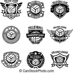 etikette, baggrund., tegn, element, volleyball, illustration, emblems, konstruktion, badge., logo, emblem, hvid, vektor
