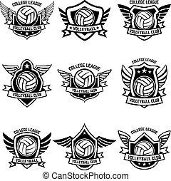 etikette, emblem, emblems, hvid, tegn, logo, volleyball, badge., formgiv element, baggrund.