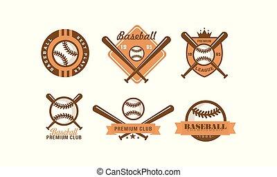 etikette, forening, emblem, sæt, klub, illustration, spiller, vektor, baseball, retro, baggrund, logo, premium, hvid, emblem, bedst