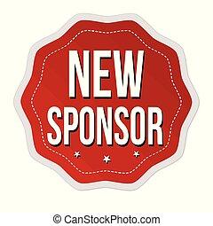 etikette, nye, eller, mærkaten, sponsor