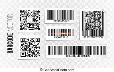 etikette, sæt, barcode, vektor