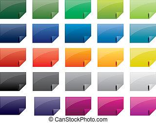 etiketten, farvet