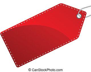 etiketten, isoleret, illustration, etikette, singel, vektor, rød