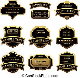 etiketter, gylden, sæt, rammer