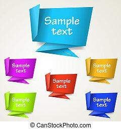 etiketter, origami, abstrakt, sæt, etiketten
