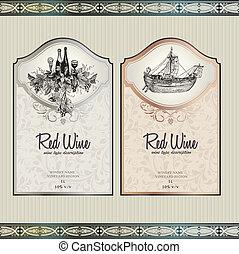 etiketter, sæt, vin