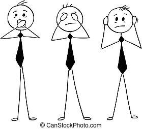 evi, klog, nej, tre, afhøre, forretningsmænd, se, cartoon, tal