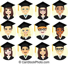 examen, student, avatar, samling