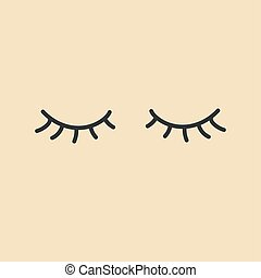 eyes., icon., vektor, eyelashes., aflukket
