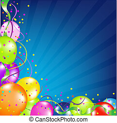 fødselsdag, balloner, baggrund, sunburst
