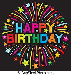 fødselsdag, fyrværkeri, glade