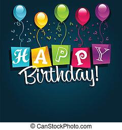 fødselsdag, illustration, glade