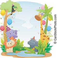 fødselsdag, safari, dyr, baggrund