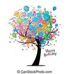 fødselsdag, vektor, hilsen card, glade